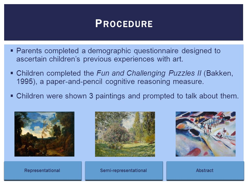  Parents completed a demographic questionnaire designed to ascertain children's previous experiences with art.