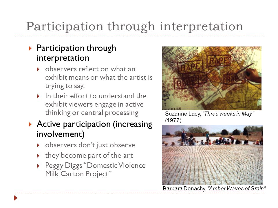 Participation through interpretation  Participation through interpretation  observers reflect on what an exhibit means or what the artist is trying