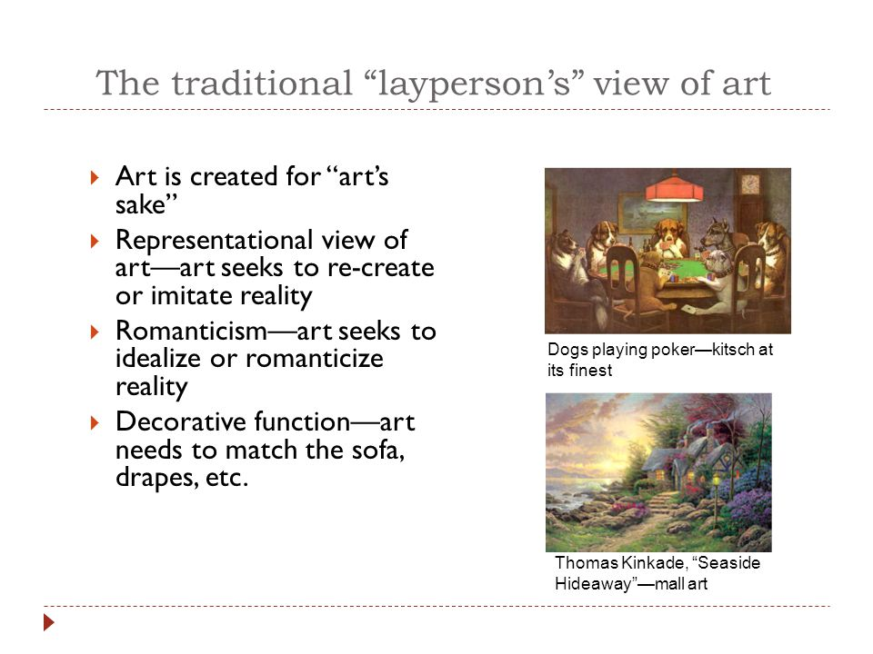 An enlightened view of art  Art serves more than an aesthetic or decorative function  Just as rhetoric is more than mere eloquence  Just as novels can provide more than mere entertainment  Artists express their opinions in and through their work  Art serves social and political ends Pablo Picasso's Guernica, which has been described as the highest achievement in modernist political painting (Clark, 1997), is a symbolic indictment of man's cruelty to man during the Spanish civil war.