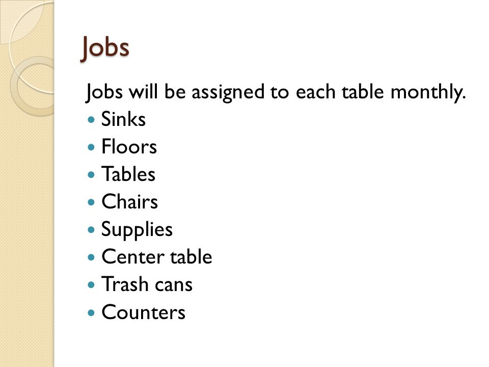 Jobs Jobs will be assigned to each table monthly. Sinks Floors Tables Chairs Supplies Center table Trash cans Counters