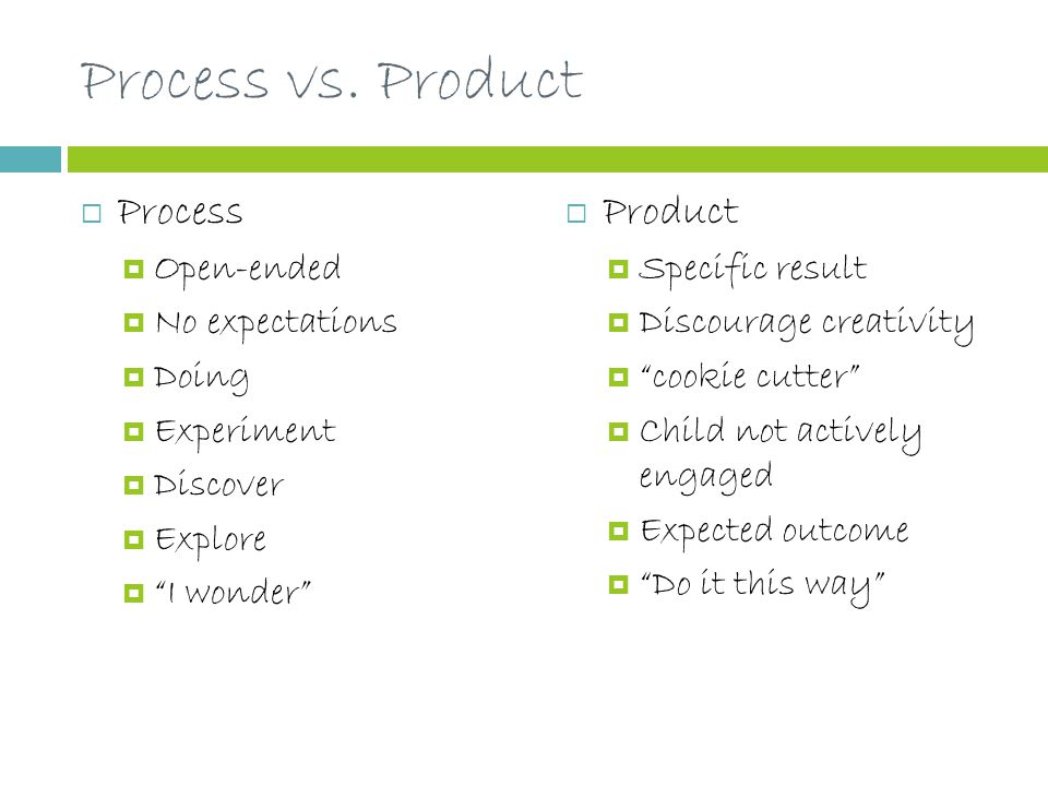 """Process vs. Product  Process  Open-ended  No expectations  Doing  Experiment  Discover  Explore  """"I wonder""""  Product  Specific result  Disc"""