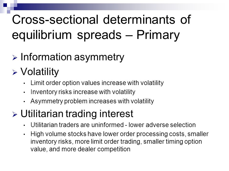 Cross-sectional determinants of equilibrium spreads – Primary  Information asymmetry  Volatility Limit order option values increase with volatility