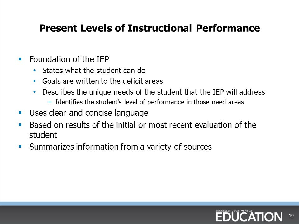 Present Levels of Instructional Performance  Foundation of the IEP States what the student can do Goals are written to the deficit areas Describes the unique needs of the student that the IEP will address – Identifies the student's level of performance in those need areas  Uses clear and concise language  Based on results of the initial or most recent evaluation of the student  Summarizes information from a variety of sources 19
