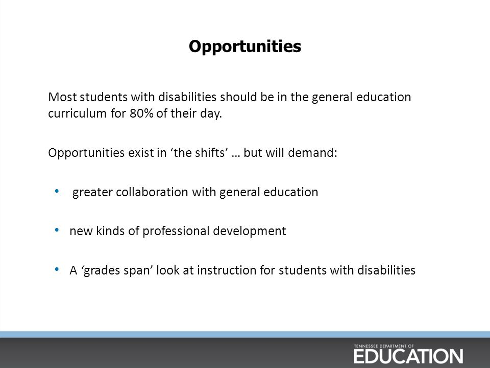 Most students with disabilities should be in the general education curriculum for 80% of their day.