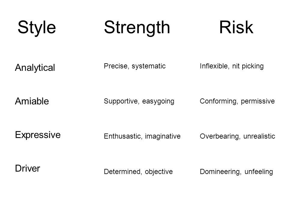 StyleStrengthRisk Analytical Amiable Expressive Driver Precise, systematic Supportive, easygoing Enthusastic, imaginative Determined, objective Inflexible, nit picking Conforming, permissive Overbearing, unrealistic Domineering, unfeeling