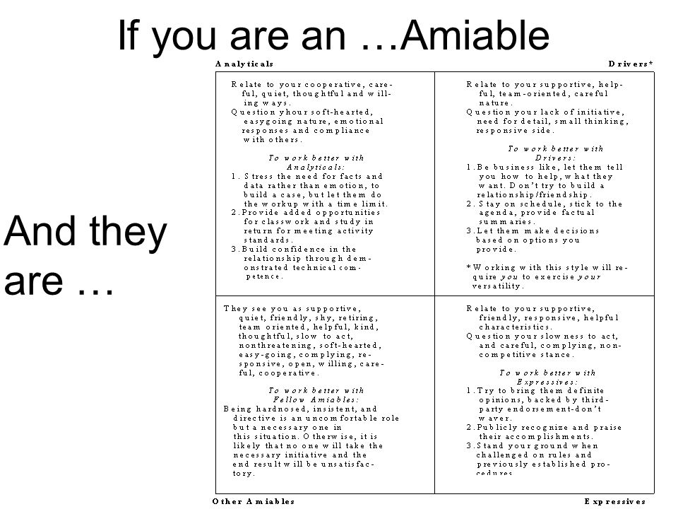 If you are an …Amiable And theyare …