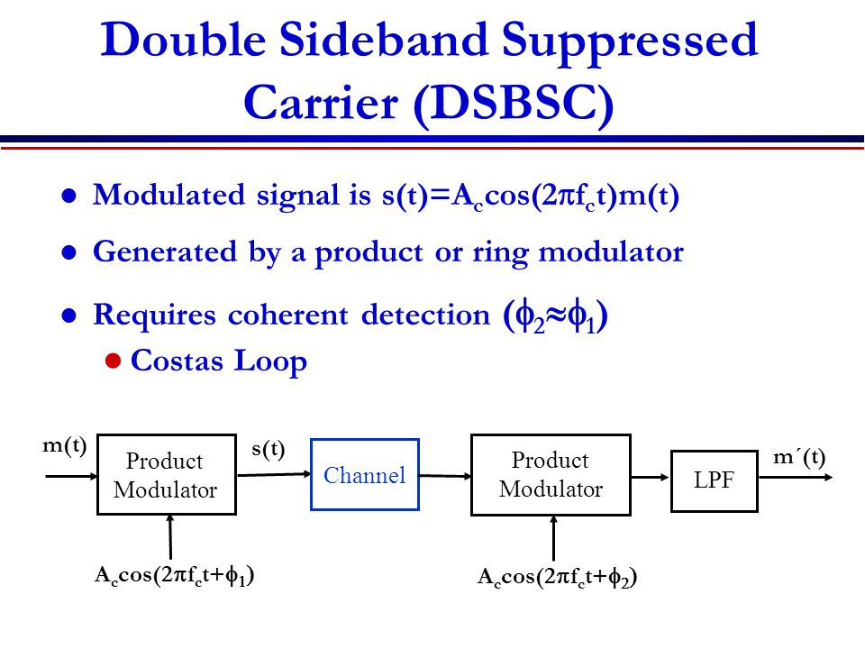 Double Sideband Suppressed Carrier (DSBSC) Modulated signal is s(t)=A c cos(2  f c t)m(t) Generated by a product or ring modulator Requires coherent