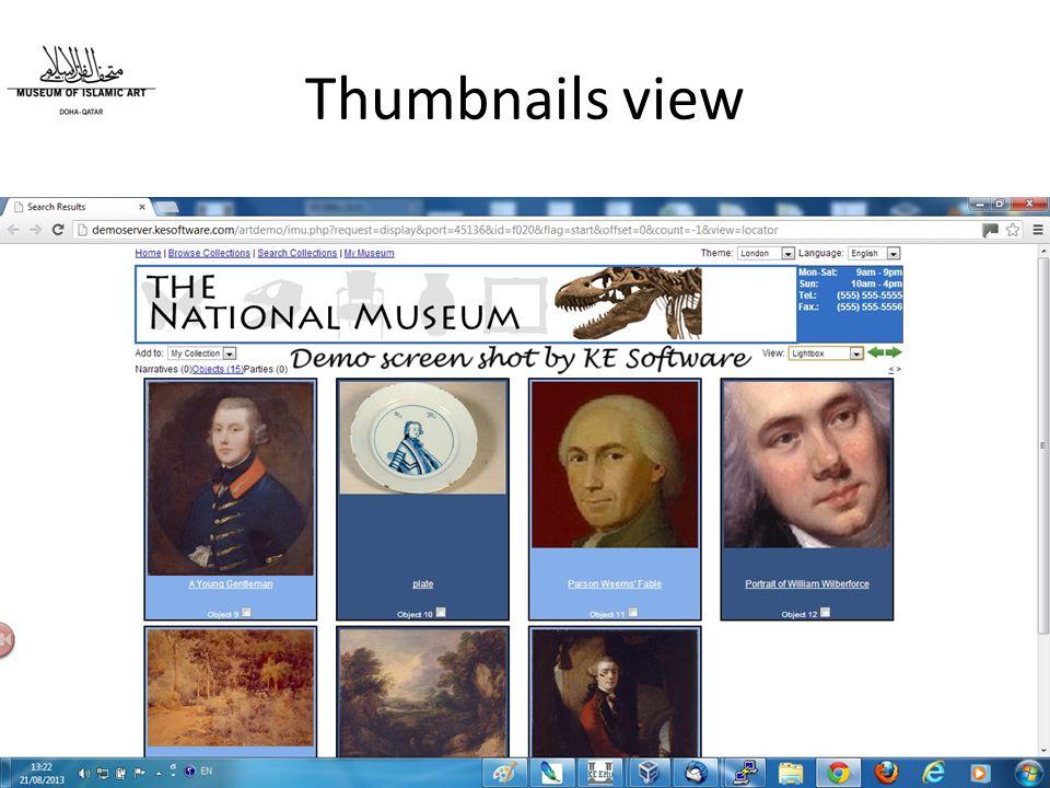 Thumbnails view