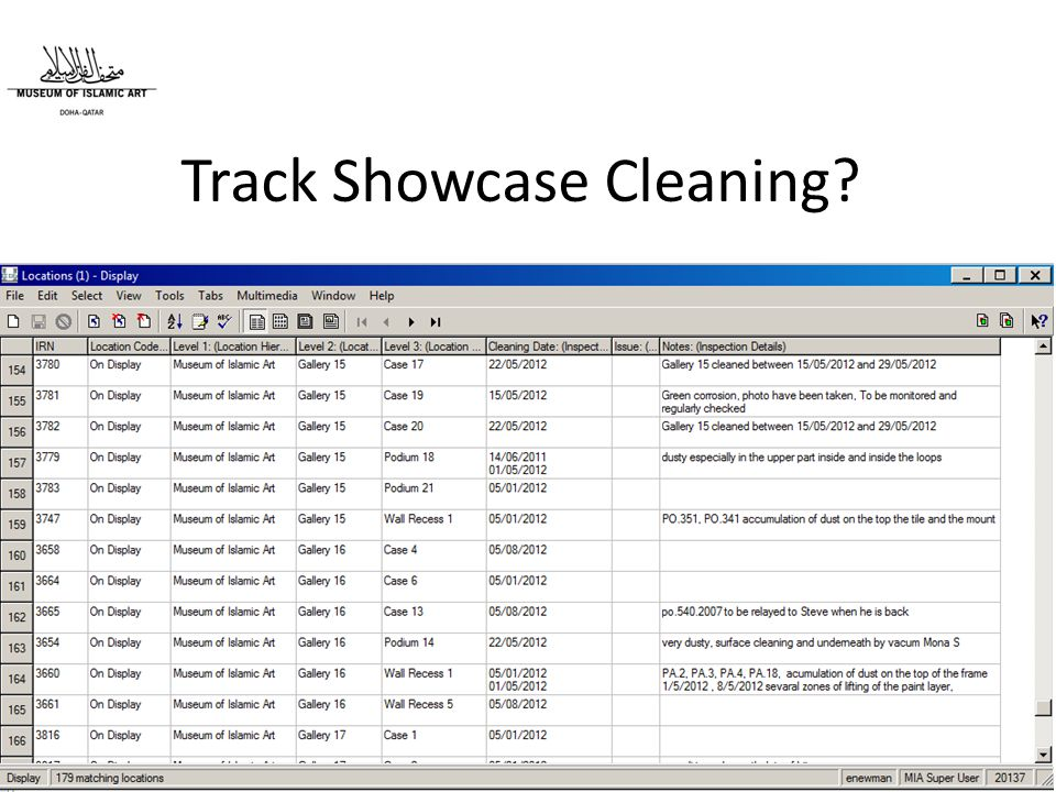 Track Showcase Cleaning?