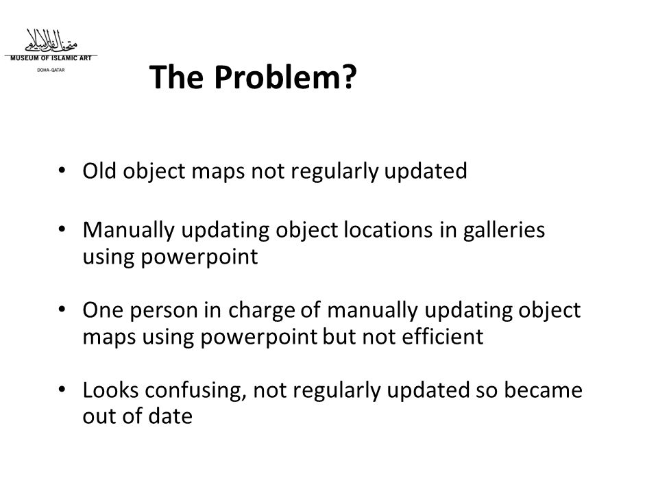 Old object maps not regularly updated Manually updating object locations in galleries using powerpoint One person in charge of manually updating object maps using powerpoint but not efficient Looks confusing, not regularly updated so became out of date The Problem?