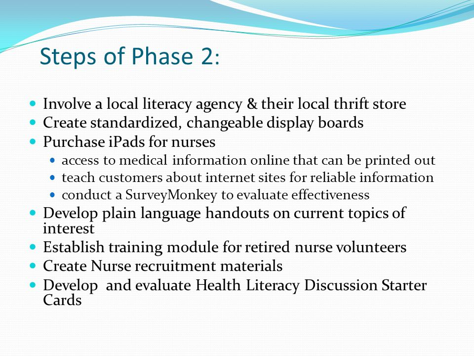 Steps of Phase 2 : Involve a local literacy agency & their local thrift store Create standardized, changeable display boards Purchase iPads for nurses access to medical information online that can be printed out teach customers about internet sites for reliable information conduct a SurveyMonkey to evaluate effectiveness Develop plain language handouts on current topics of interest Establish training module for retired nurse volunteers Create Nurse recruitment materials Develop and evaluate Health Literacy Discussion Starter Cards
