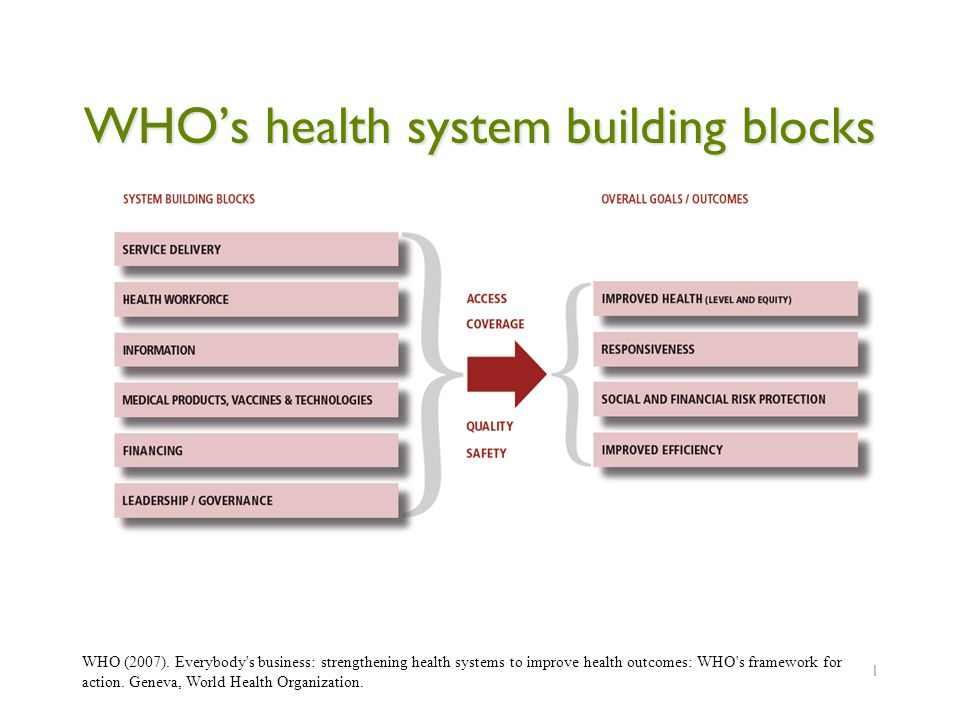 WHO's health system building blocks 1 WHO (2007).