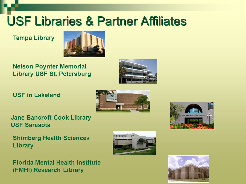 Services for you Identifying materials you need Copyright guidance Research instruction to your students from librarians Placing items on reserve for your students Scheduling media viewing in the library Teaching Assistants as your proxy Providing access to your research – Scholar Commons@USF