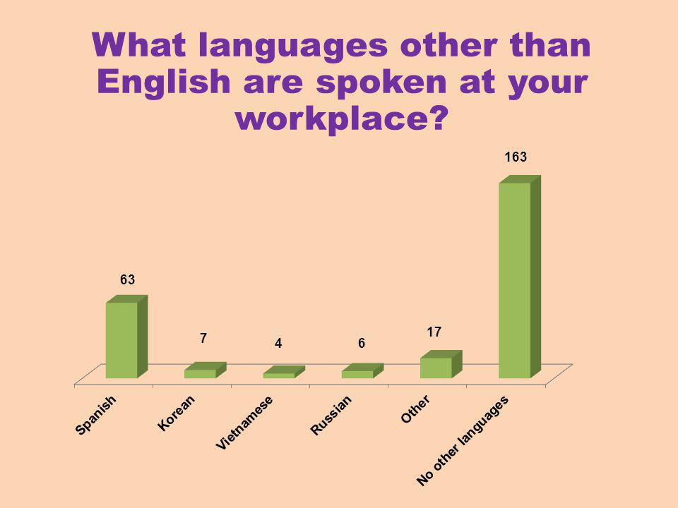 What languages other than English are spoken at your workplace