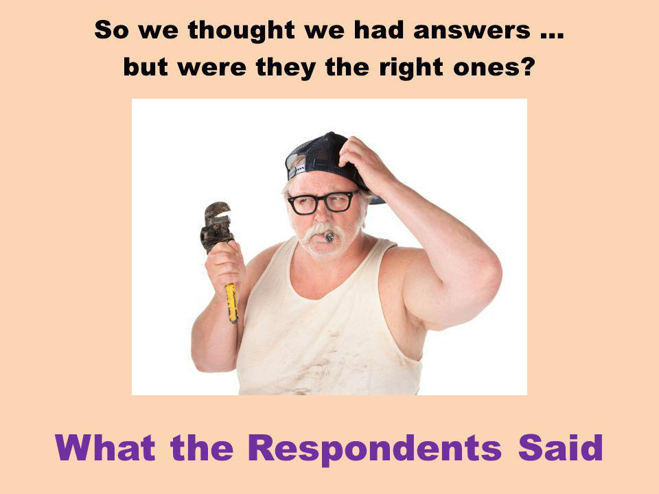 So we thought we had answers … but were they the right ones What the Respondents Said