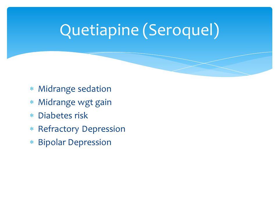  Midrange sedation  Midrange wgt gain  Diabetes risk  Refractory Depression  Bipolar Depression Quetiapine (Seroquel)