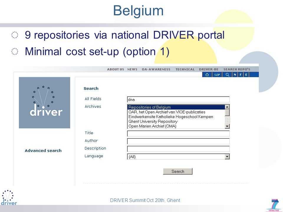DRIVER Summit Oct 20th, Ghent Belgium 9 repositories via national DRIVER portal Minimal cost set-up (option 1)