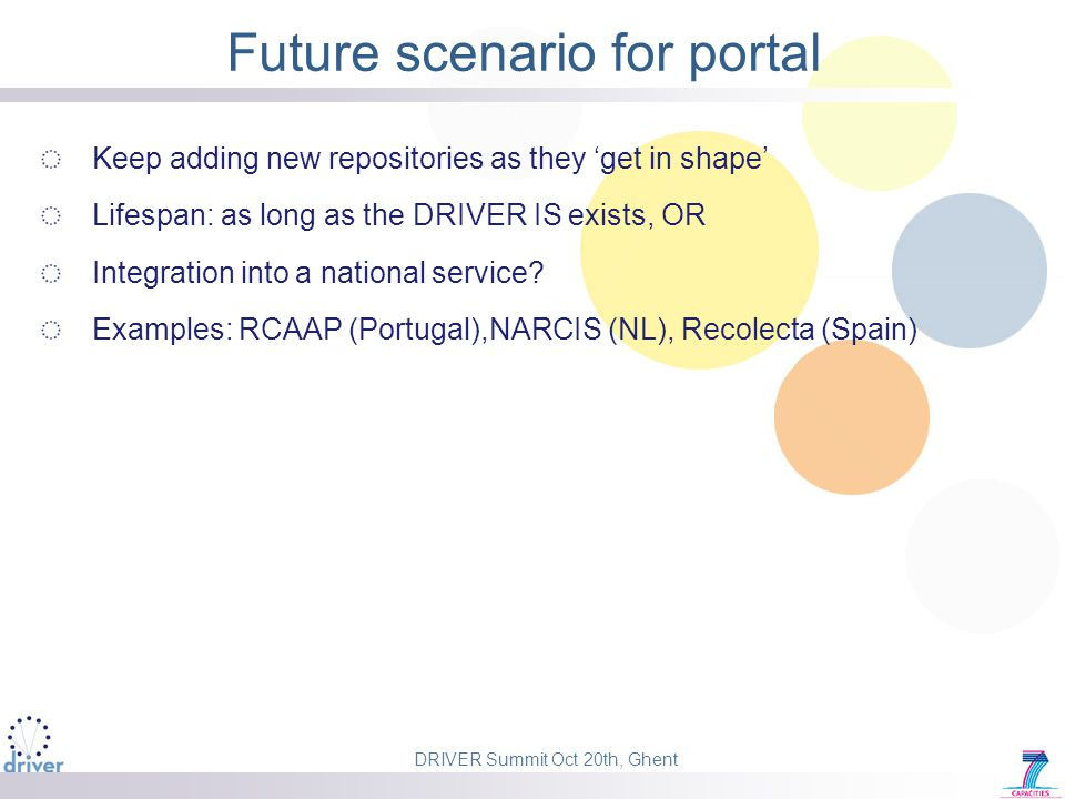 DRIVER Summit Oct 20th, Ghent Future scenario for portal Keep adding new repositories as they 'get in shape' Lifespan: as long as the DRIVER IS exists, OR Integration into a national service.
