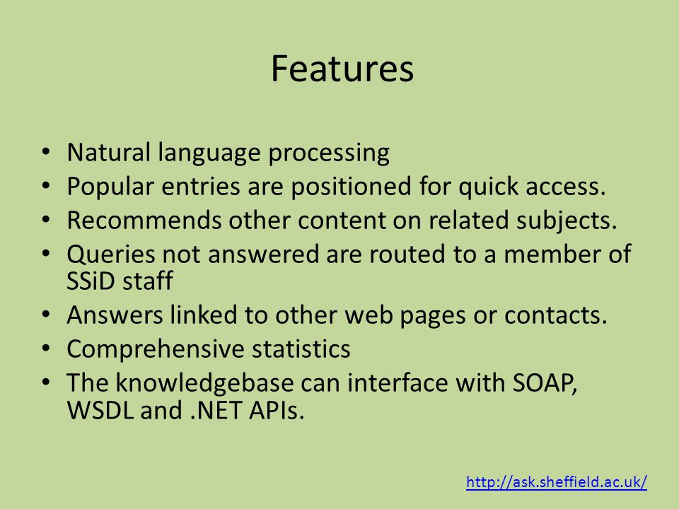Features Natural language processing Popular entries are positioned for quick access.