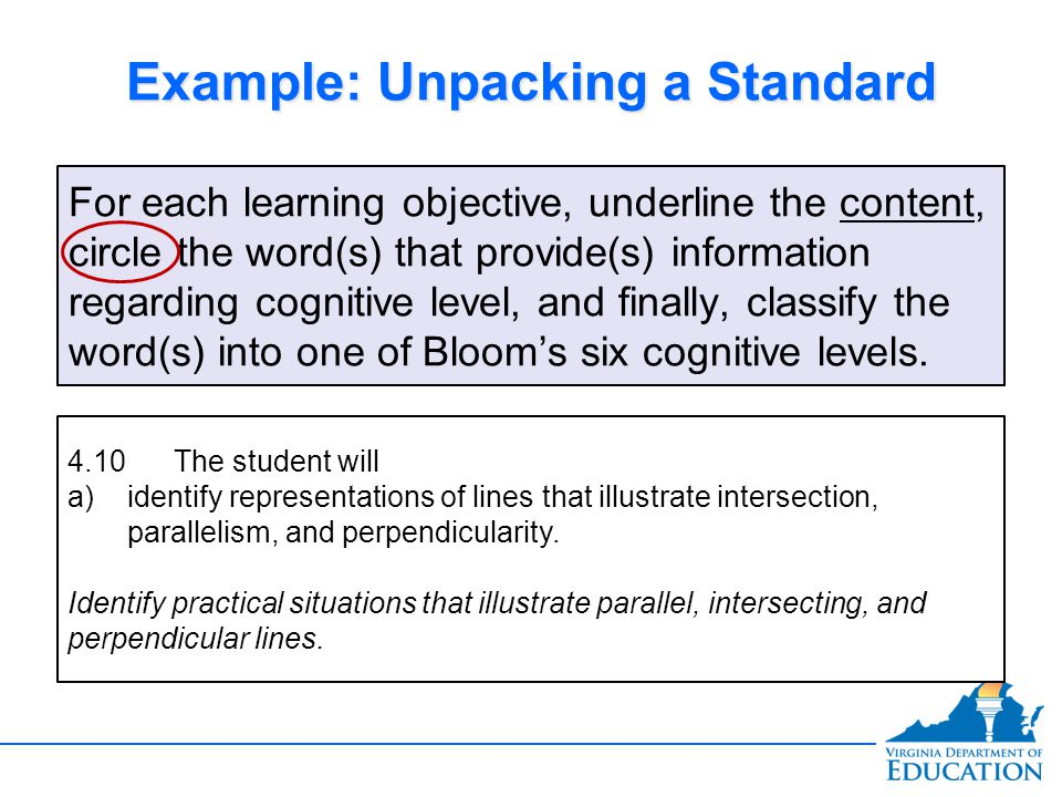 Example: Unpacking a Standard For each learning objective, underline the content, circle the word(s) that provide(s) information regarding cognitive level, and finally, classify the word(s) into one of Bloom's six cognitive levels.