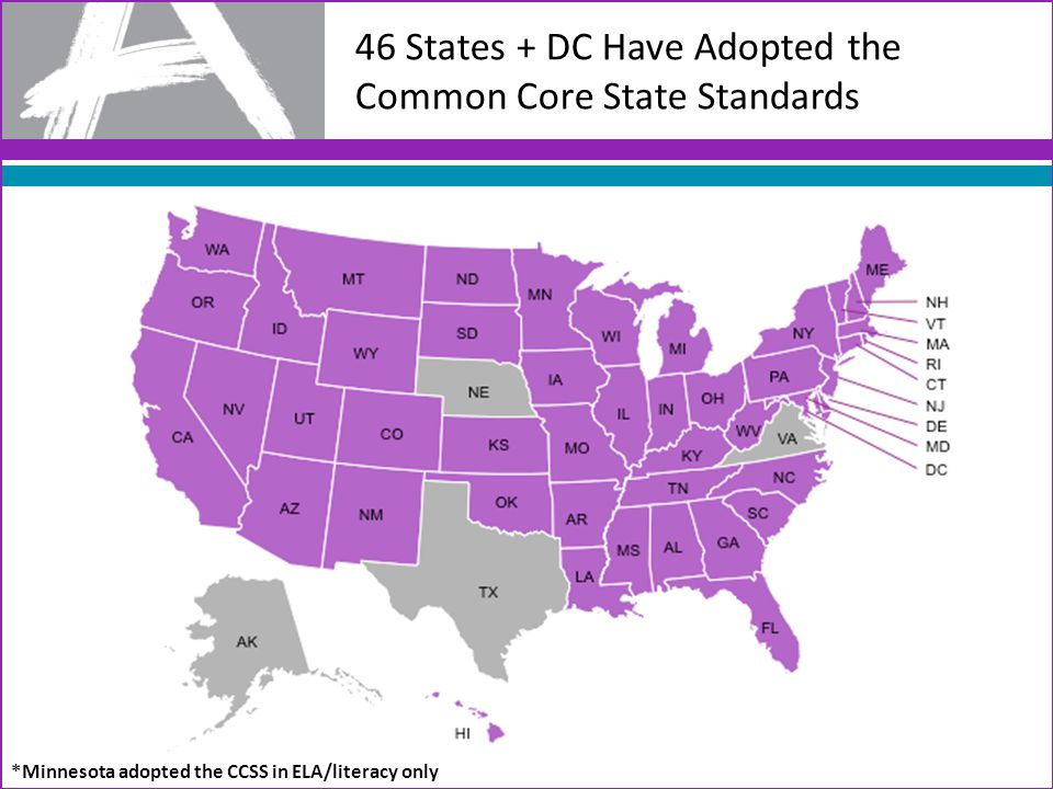 46 States + DC Have Adopted the Common Core State Standards *Minnesota adopted the CCSS in ELA/literacy only