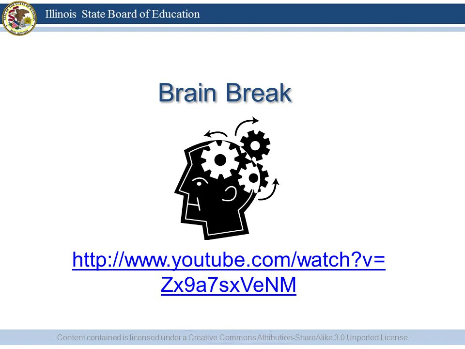 Brain Break   v= Zx9a7sxVeNM Content contained is licensed under a Creative Commons Attribution-ShareAlike 3.0 Unported License