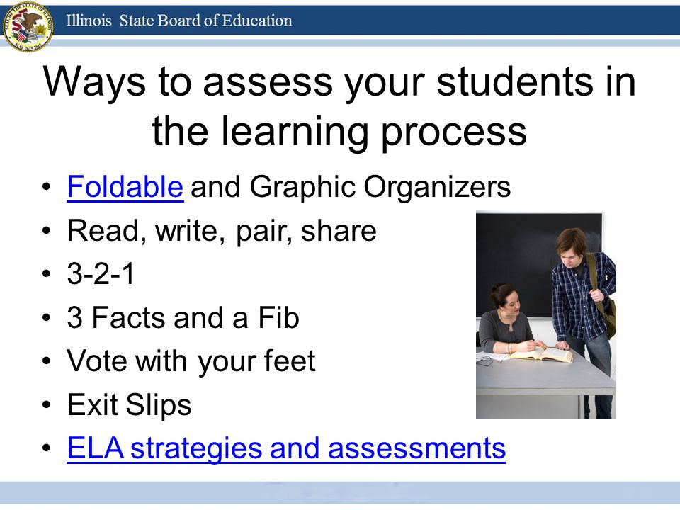 Ways to assess your students in the learning process Foldable and Graphic OrganizersFoldable Read, write, pair, share Facts and a Fib Vote with your feet Exit Slips ELA strategies and assessments
