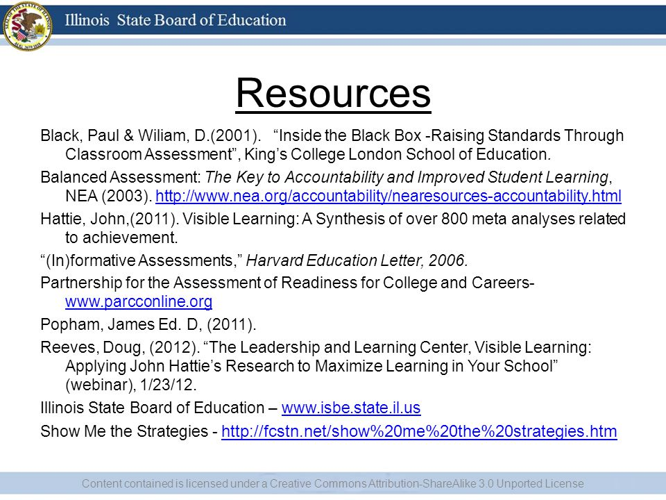 Resources Black, Paul & Wiliam, D.(2001).