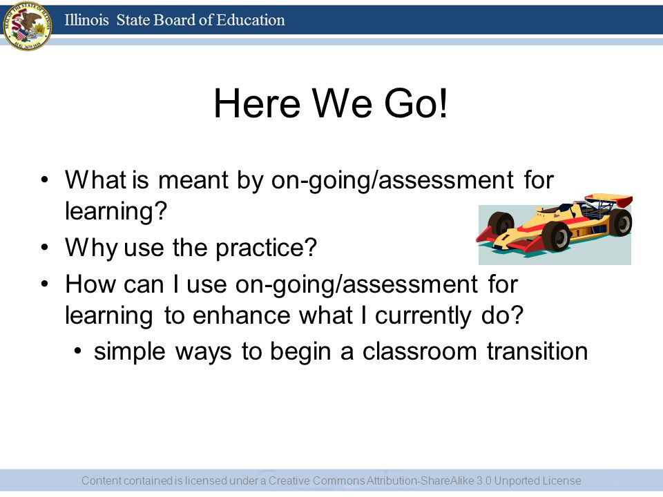 Here We Go. What is meant by on-going/assessment for learning.