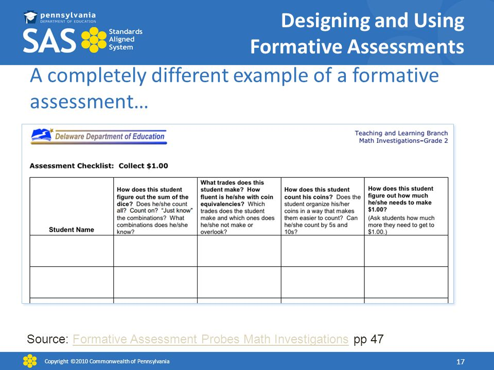 Designing and Using Formative Assessments A completely different example of a formative assessment… Copyright ©2010 Commonwealth of Pennsylvania 17 Source: Formative Assessment Probes Math Investigations pp 47Formative Assessment Probes Math Investigations