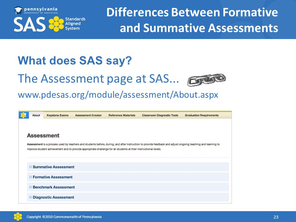 Differences Between Formative and Summative Assessments What does SAS say.