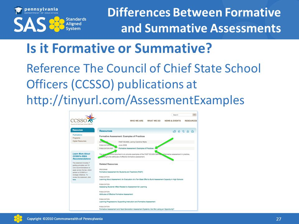 Differences Between Formative and Summative Assessments Copyright ©2010 Commonwealth of Pennsylvania 27 Is it Formative or Summative.