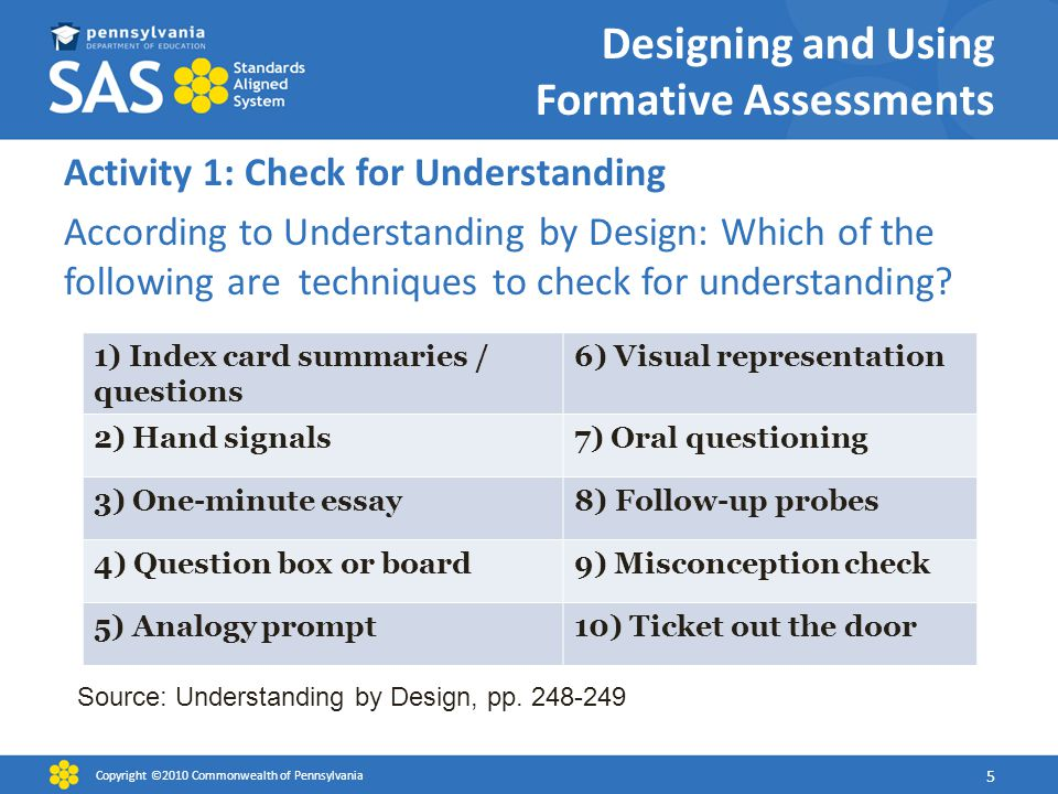 Designing and Using Formative Assessments Activity 1: Check for Understanding According to Understanding by Design: Which of the following are techniques to check for understanding.