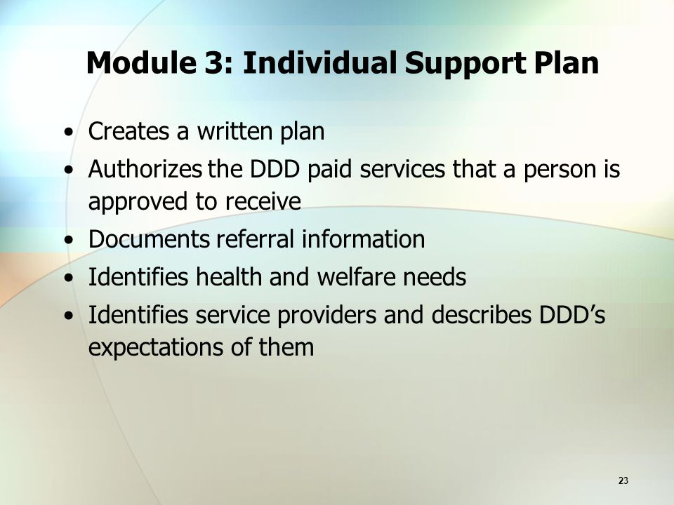 23 Module 3: Individual Support Plan Creates a written plan Authorizes the DDD paid services that a person is approved to receive Documents referral information Identifies health and welfare needs Identifies service providers and describes DDD's expectations of them