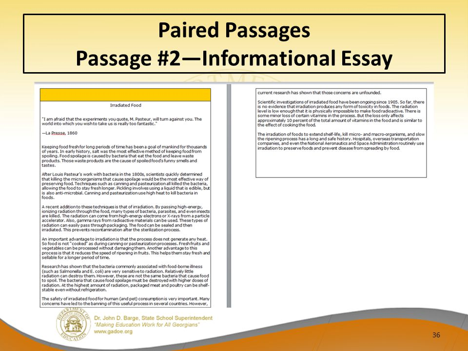 36 Paired Passages Passage #2—Informational Essay