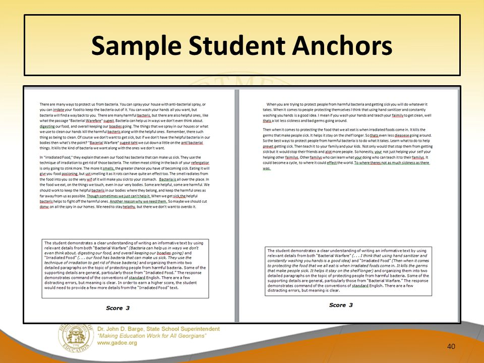 Sample Student Anchors 40