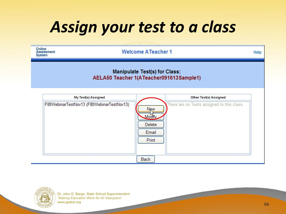 Assign your test to a class 66