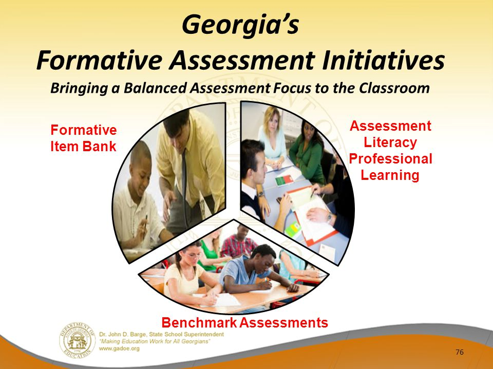 Georgia's Formative Assessment Initiatives Bringing a Balanced Assessment Focus to the Classroom 76 Assessment Literacy Professional Learning Formative Item Bank Benchmark Assessments