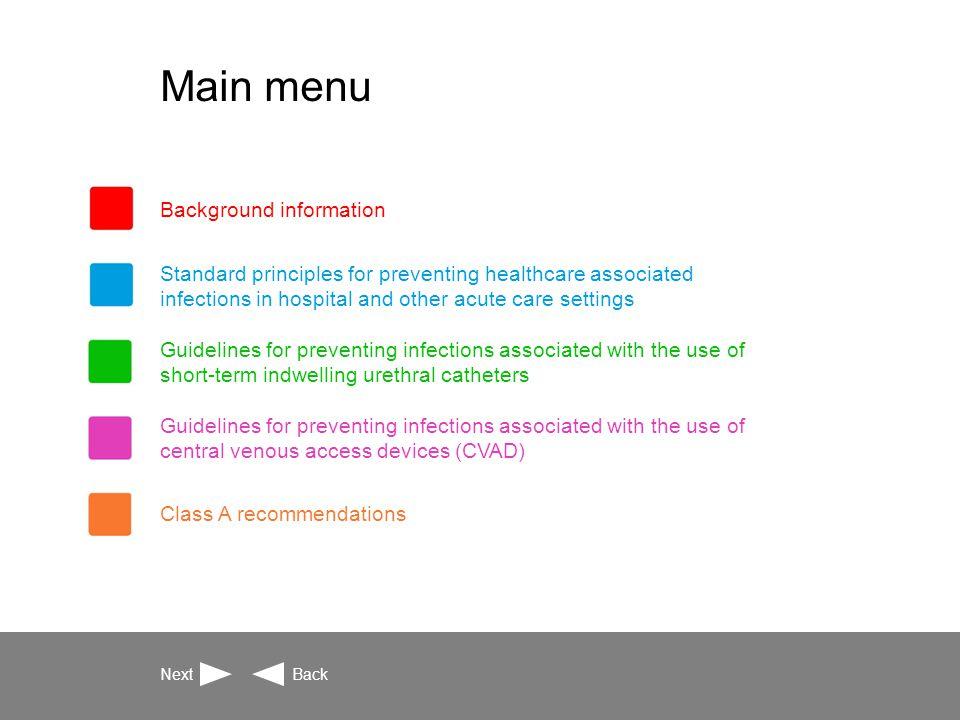 Background information Introduction Guideline development team Guideline advisory group Guideline development methodology Consultation process Definitions Next BackMain Menu