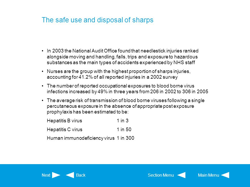 The safe use and disposal of sharps In 2003 the National Audit Office found that needlestick injuries ranked alongside moving and handling, falls, tri