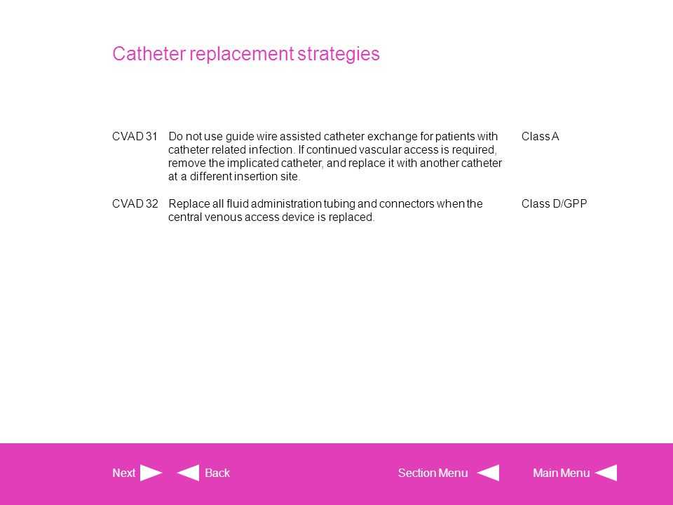 Catheter replacement strategies CVAD 31Do not use guide wire assisted catheter exchange for patients with catheter related infection. If continued vas