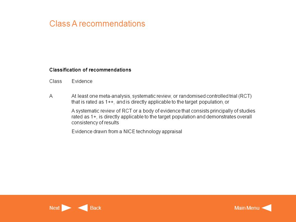 Class A recommendations Next BackMain Menu Classification of recommendations ClassEvidence AAt least one meta-analysis, systematic review, or randomis
