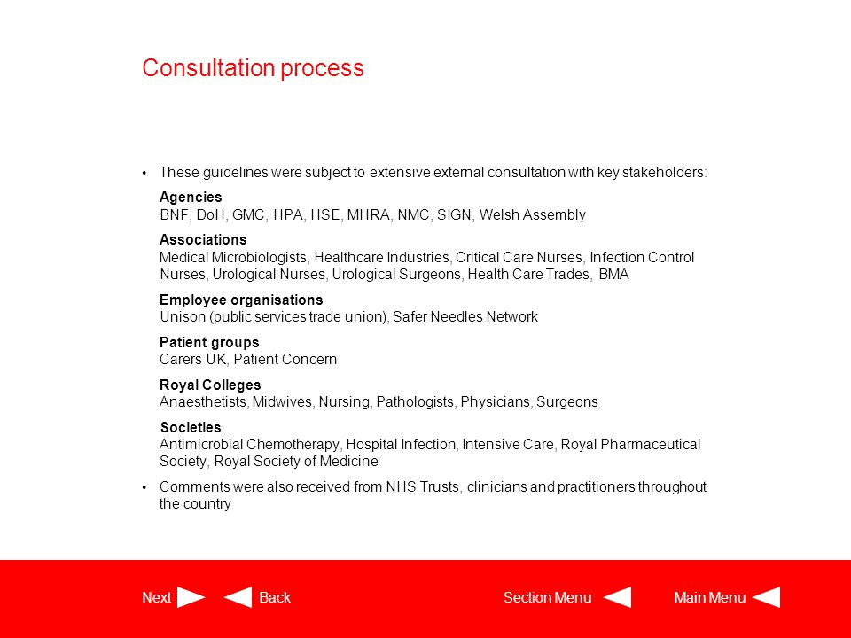 Consultation process These guidelines were subject to extensive external consultation with key stakeholders: Agencies BNF, DoH, GMC, HPA, HSE, MHRA, N