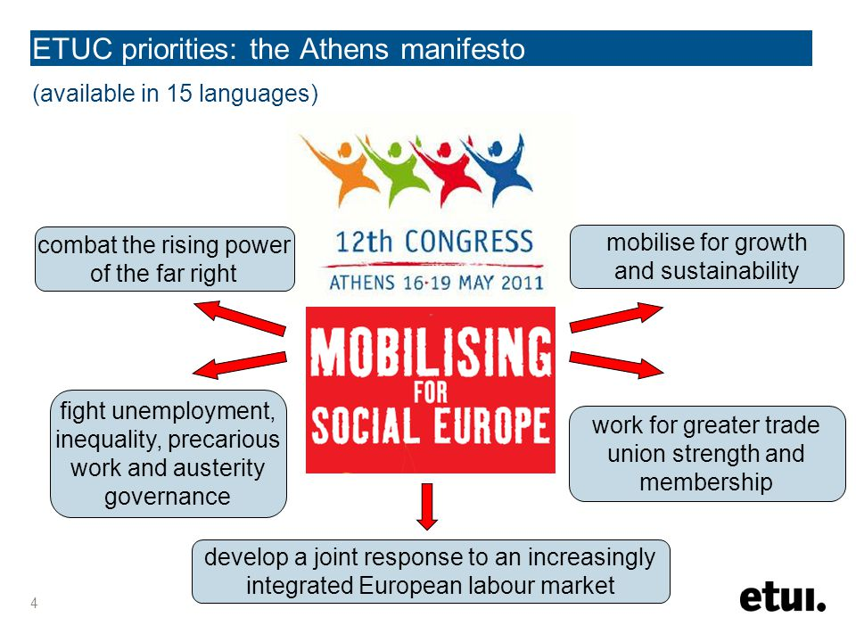 (available in 15 languages) 4 ETUC priorities: the Athens manifesto combat the rising power of the far right mobilise for growth and sustainability work for greater trade union strength and membership develop a joint response to an increasingly integrated European labour market fight unemployment, inequality, precarious work and austerity governance