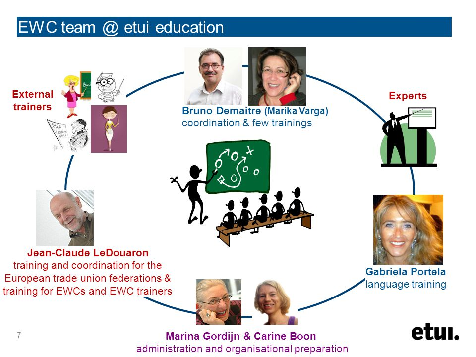 EWC team @ etui education 7 Marina Gordijn & Carine Boon administration and organisational preparation Gabriela Portela language training Jean-Claude LeDouaron training and coordination for the European trade union federations & training for EWCs and EWC trainers Experts External trainers Bruno Demaitre (Marika Varga) coordination & few trainings