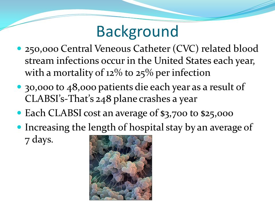 Background 250,000 Central Veneous Catheter (CVC) related blood stream infections occur in the United States each year, with a mortality of 12% to 25% per infection 30,000 to 48,000 patients die each year as a result of CLABSI's-That's 248 plane crashes a year Each CLABSI cost an average of $3,700 to $25,000 Increasing the length of hospital stay by an average of 7 days.