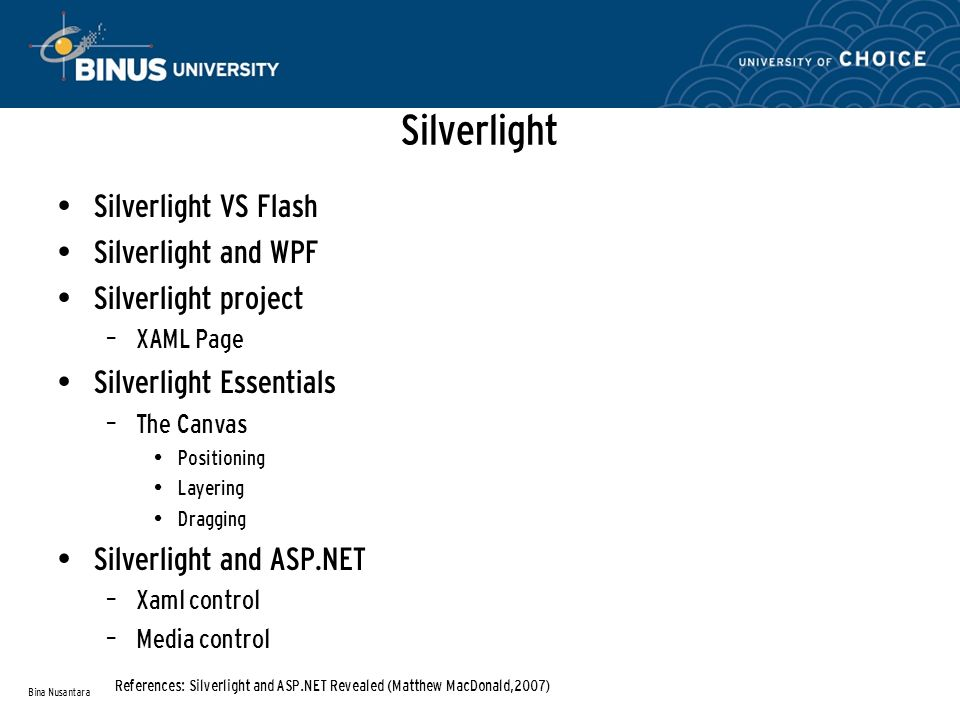 Silverlight Silverlight VS Flash Silverlight and WPF Silverlight project – XAML Page Silverlight Essentials – The Canvas Positioning Layering Dragging