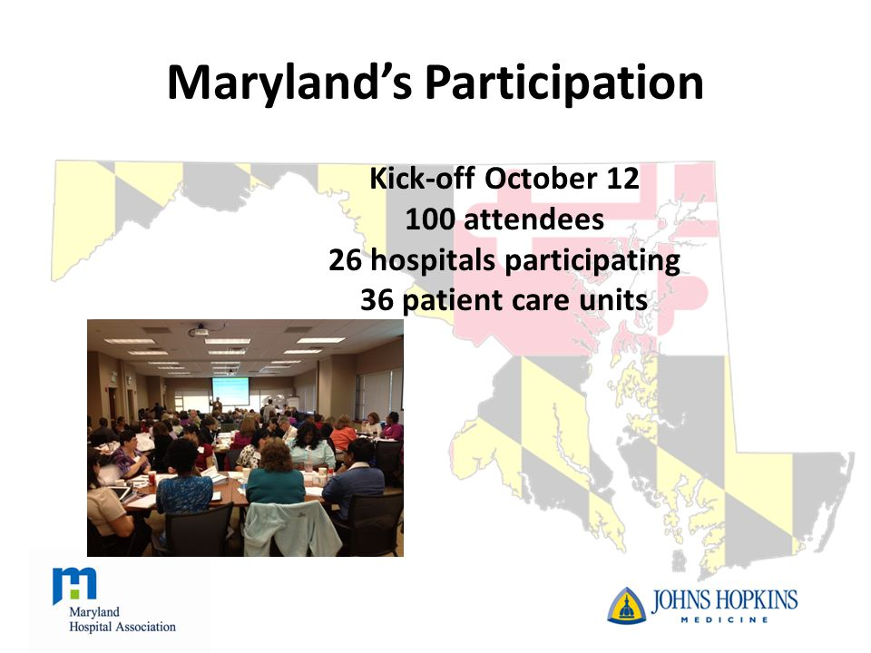 Maryland's Participation Kick-off October 12 100 attendees 26 hospitals participating 36 patient care units