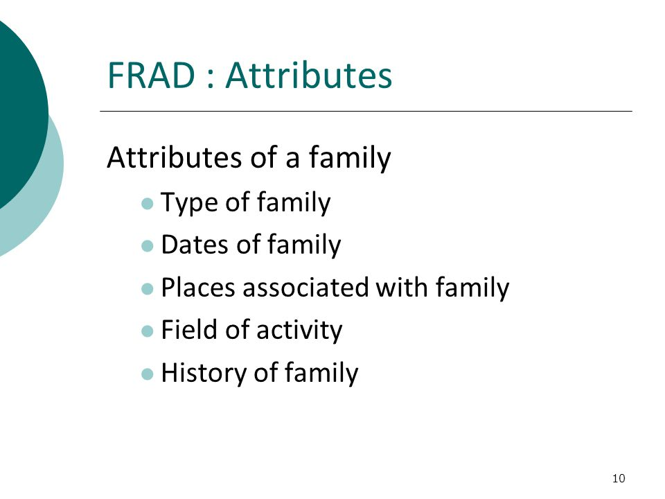 10 FRAD : Attributes Attributes of a family Type of family Dates of family Places associated with family Field of activity History of family