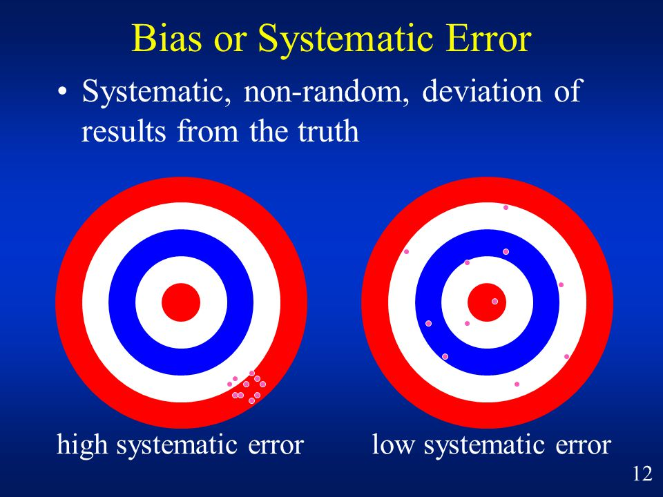 Bias or Systematic Error Systematic, non-random, deviation of results from the truth high systematic errorlow systematic error 12